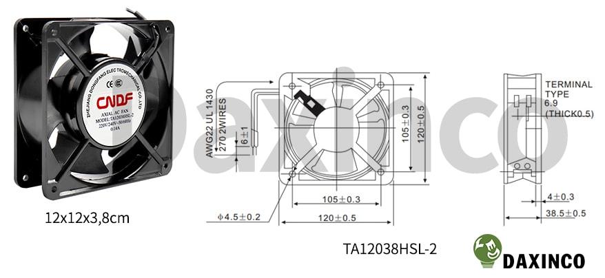 Thông số kỹ thuật quạt hút nhiệt 120x120 220v AC 0.14A
