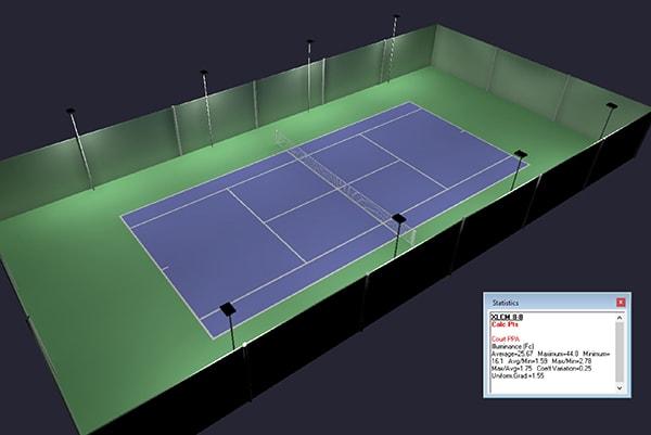 Hướng dẫn bố trí đèn led cho sân tennis