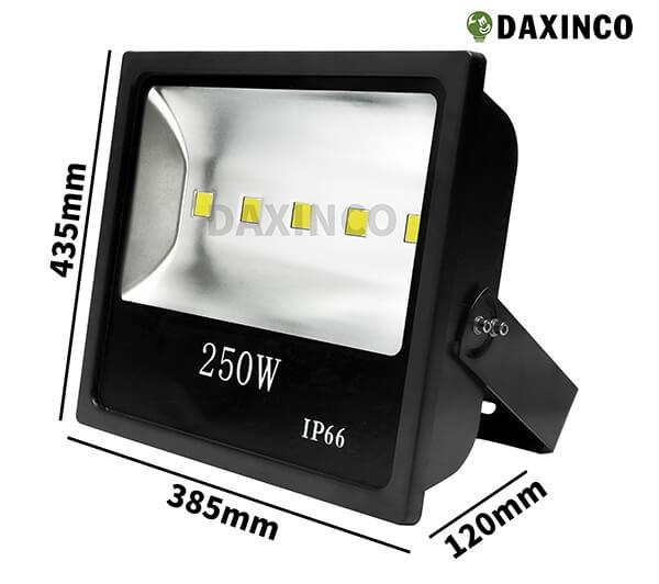 Kích thước đèn pha led 250W Daxinco kiểu dẹp