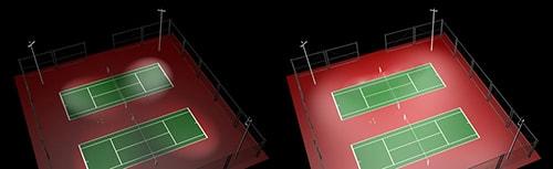 Độ phủ sáng đồng đều của đèn pha sân tennis