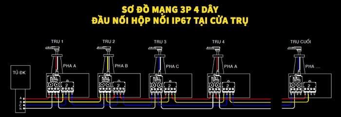 Phương án đầu nối IP67 tại trụ đèn