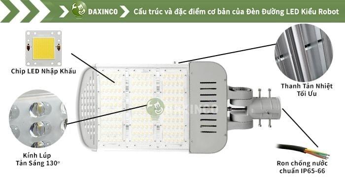 Đèn đường led kiểu robot có thể sử dụng cho nhiều công trình, lớn nhỏ khác nhau