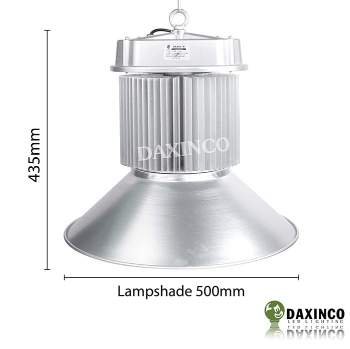 Kích thước đèn led nhà xưởng 120W-150W Daxinco