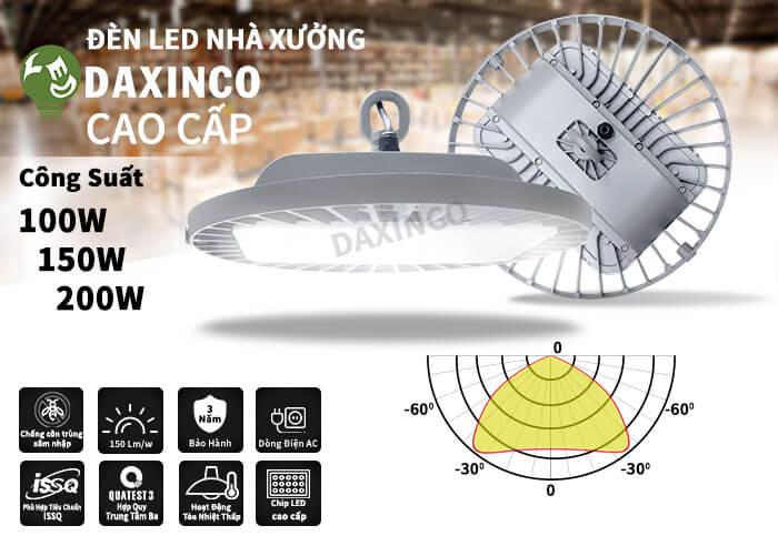 Đèn led nhà xưởng 150w-200W philips Daxinco UFO