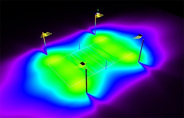 Sơ đồ bố trí ánh sáng sân bóng chuyền loại sân luyện tập