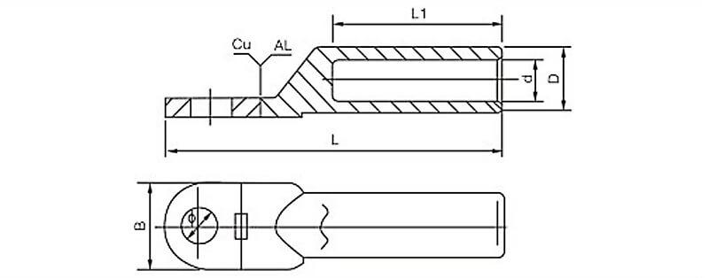 Kích thước đầu cos đồng nhôm DTL-1
