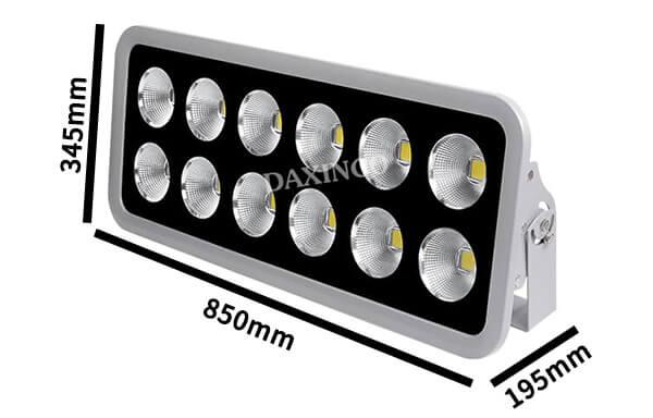 Kích thước đèn pha led 600w chiếu sáng ngoài trời Daxinco